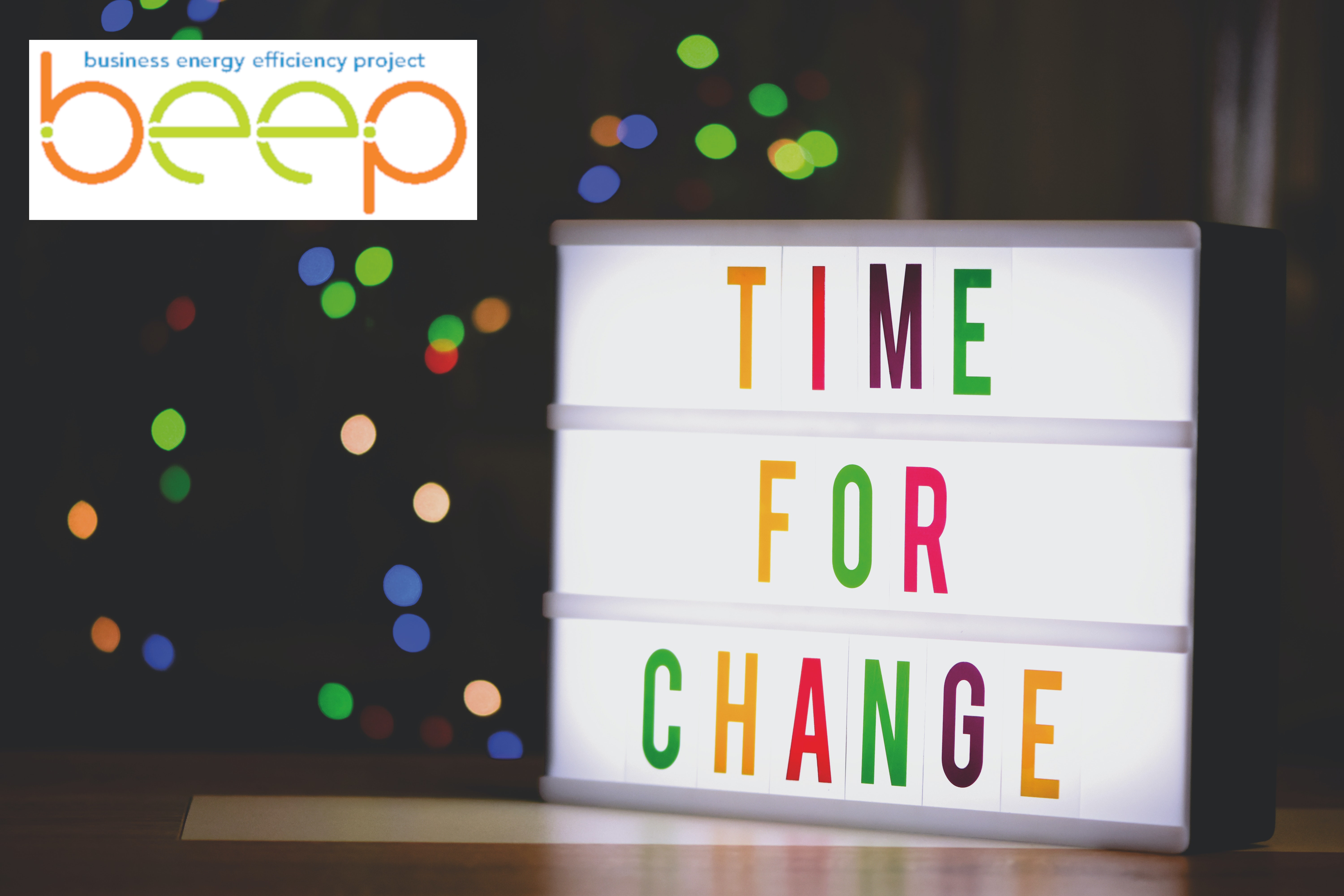 lightbox showing the words time for change