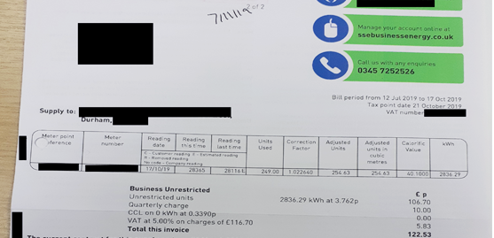 redacted utility bill showing a total invoice charge of £122.53