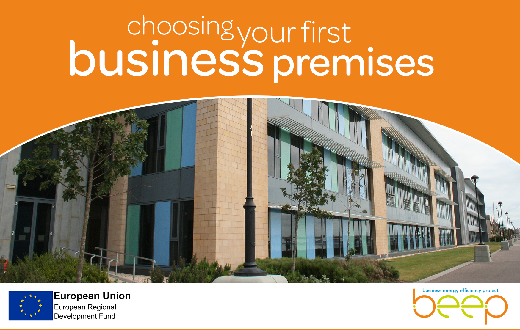 modern office complex exterior overlay text says choosing your first business premises