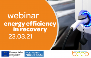 electric car charging port in use text says webinar energy efficiency in recovery 23rd March 2021