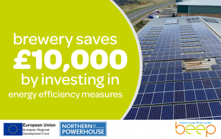 factory roof covered in solar panels text says brewery saves £10,000 by investing in energy efficiency measures