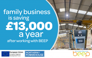interior of a factory being renovated text says family business is saving £13,000 a year after working with BEEP