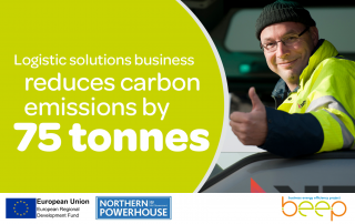 smiling man in a high viz jacket giving a thumbs up text reads logistic solutions business reduces carbon emissions by 75 tonnes