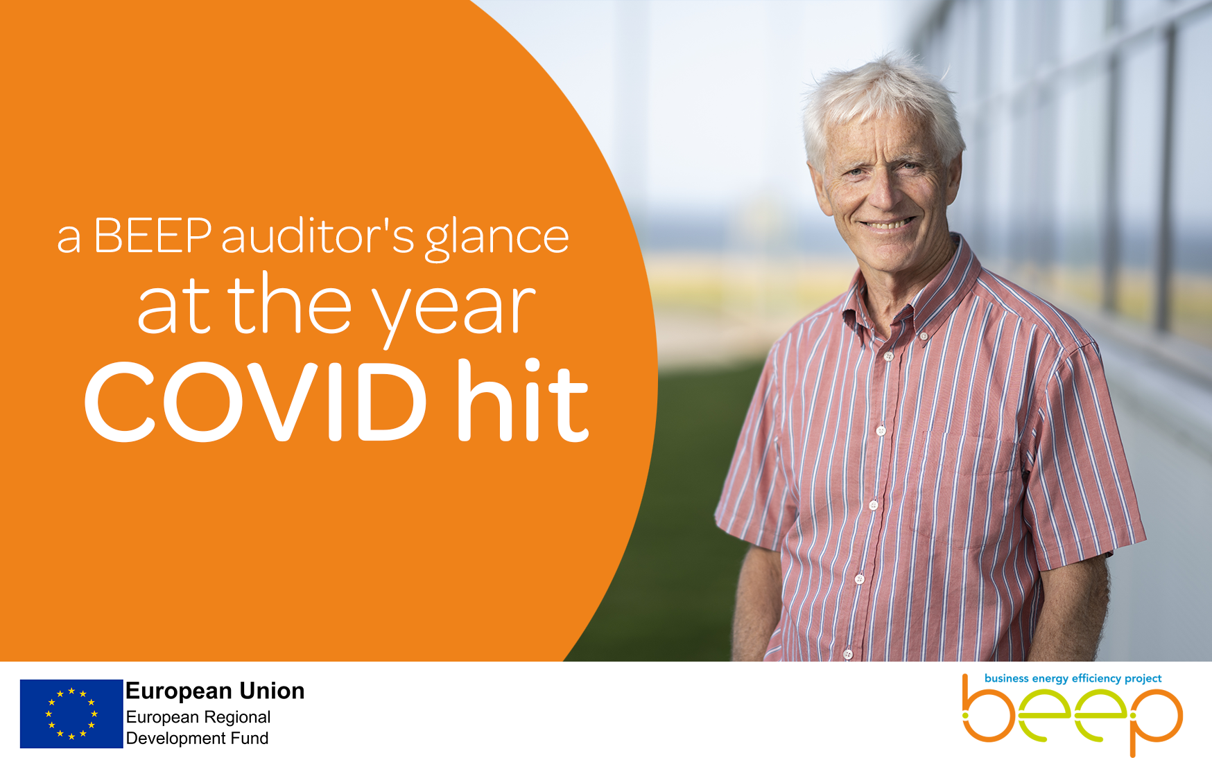 older man smiling at the camera text says a BEEP auditors glance at the year COVID hit