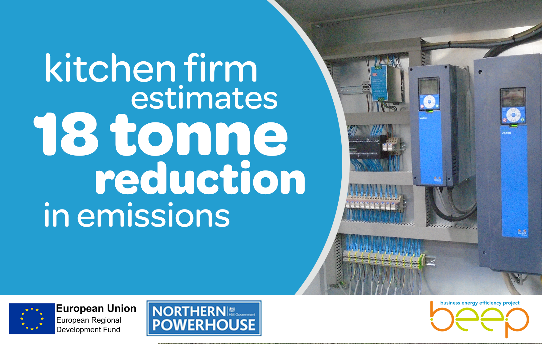 Electrical cables overlaid with text Kitchen Firm Estimates 18 Tonne Reduction In Emmissions