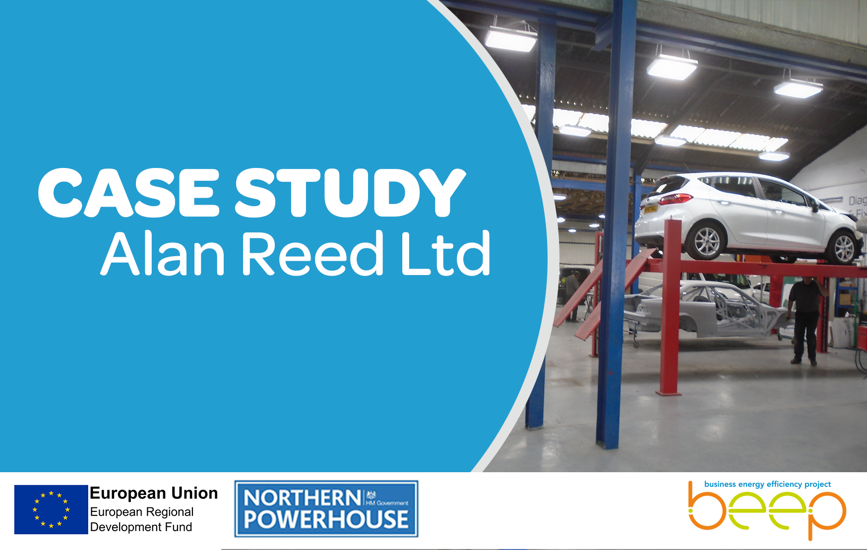 Car workshop overlaid with text Case Study Alan Reed Limited
