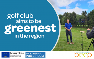 Man on golf course overlaid with text Golf Club Aims To Be Greenest In The Region