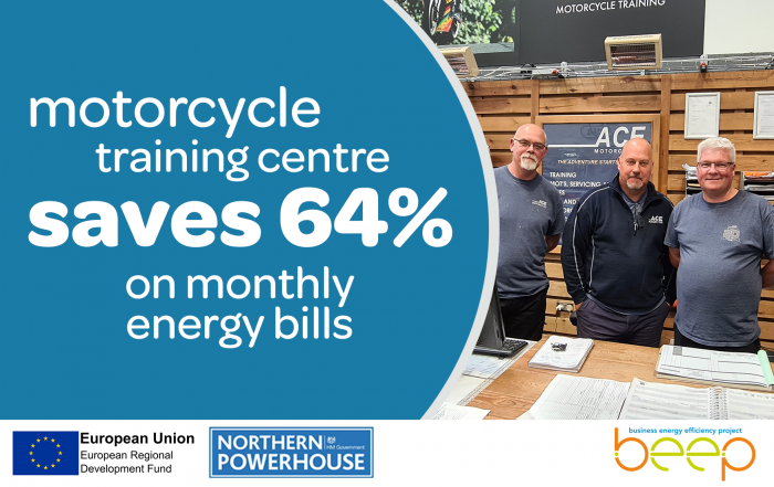 Three men overlaid with text Motorcycle Training Centre Saves 64 Per Cent On Monthly Energy Bills