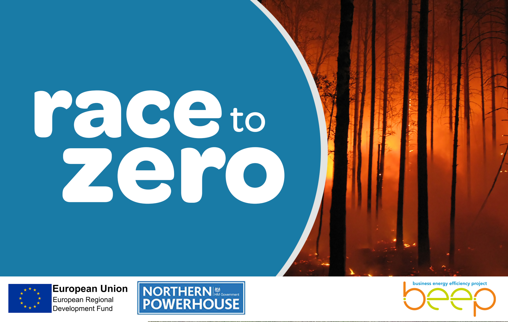 Photo of a forest fire and the words Race To Zero