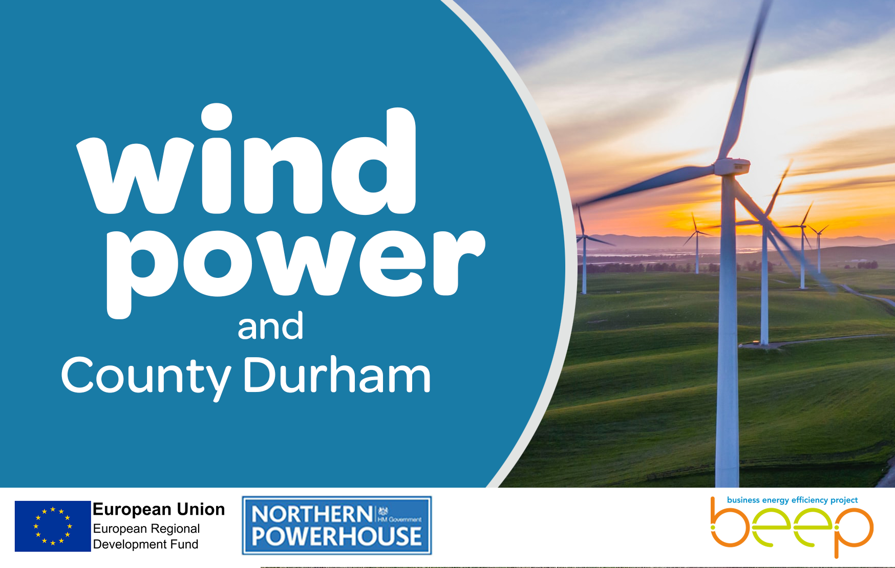 Photo of a wind turbine with the words Wind Power and County Durham