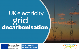 Photo of power pilons with the words UK Electricity Grid Decarbonisation